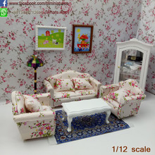 Wholesale 1:12 Scale Dolls house Wooden Sofa and Coffee Table Set/4 Miniature Furniture