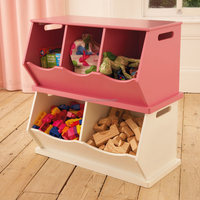 Protable Wooden Kids Storage Bins Cabinet