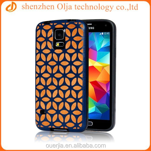 Hot new product for 2014 custom pattern laser printer pu leather coating back cover case for samsung s5