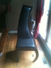 Right Swirl Leather Heavy Wood Frame Chair
