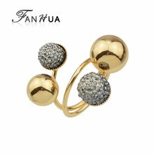 New Design Gold Color Metal Ball Statement Rings for Lady