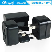 Discount free sample all black PC case world travel plug