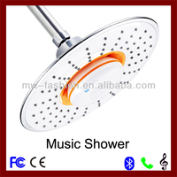 2014 plastic rain shower head led shower head with phone speaker and music shower set