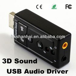 High quality USB External 7.1 Channel 3d sound usb driver Flexible audio interface