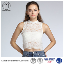 Summer fashion women white lace sexy crop tank tops bodycon ladies shirt