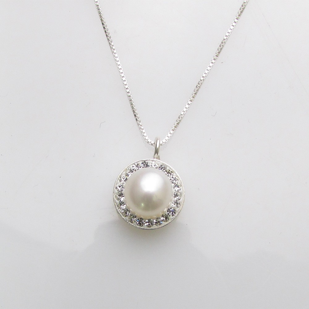 Necklace silver pearl crystals
