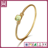 latest design stainless steel green diamond bracelet bangle
