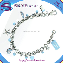 Special Design Metal Bracelet With Shiny Charms And Printed Logo