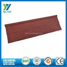 Red decorative stone metal roof shingle