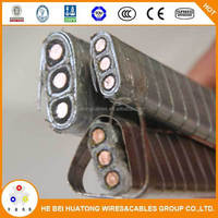 AWG 4 21mm2 rubber insulated and sheathed ,Galvanized steel tape armoured ESP cable/submersible oil pump cable