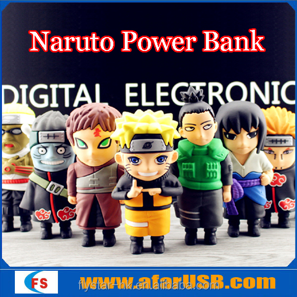 Hot sales customized PVC Cartoon Naturo mobile portable battery charger 5200mah