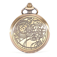 Vintage Bronze Quartz Pocket Watch Fashion Who Style Best Gift Necklace Pendant Steampunk Pocket Watch