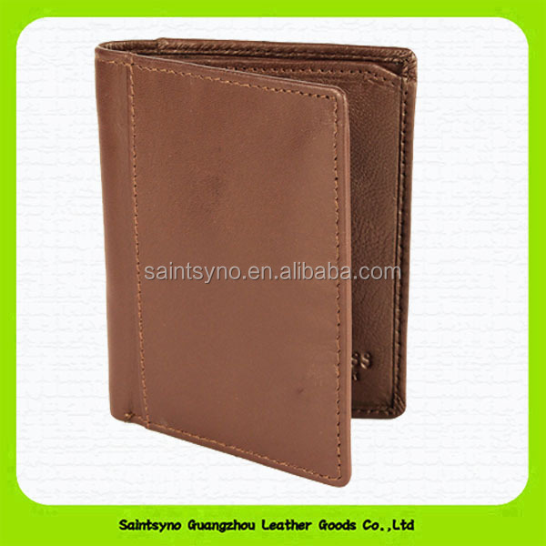 Made in Guangzhou leather factory black genuine leather men's wallet 15371C