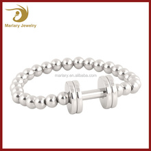 Custom Stainless Steel Bead Weight Lifting Motivated Fitness Sport Jewelry circular Barbell Gym Bracelet weights