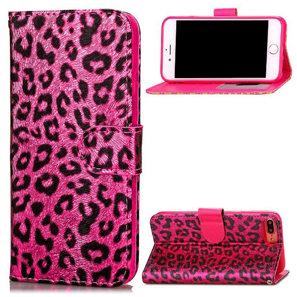 Retro painted leopard pattern case PU flip leather mobile phone shell fashional design back cover for iPhone7 7Plus