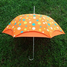 Christmas gifts aluminum printed dots orange fabric bright color rain umbrella