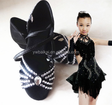 Professionall factory directly sell high quality kids ballroom crystal latin dance shoes