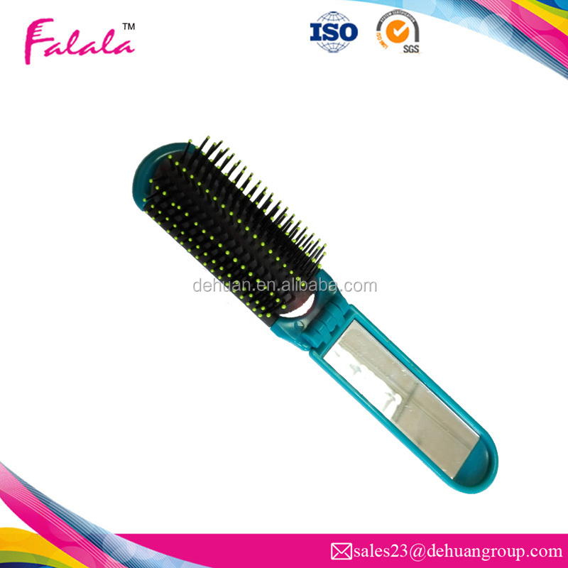 2017 folding travel plastic comb hairbrush with mirror set