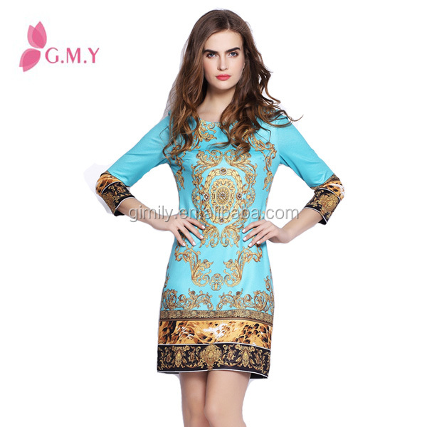 finery elegant ladies long sleeves cotton embroidered dress
