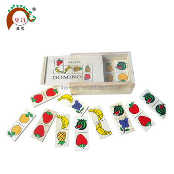 Wooden fruits domino blocks toy set with wooden box