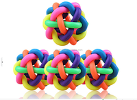 Color weaving the bell ball,,seven color Rubber ball for dog toy ,Voice dog toy