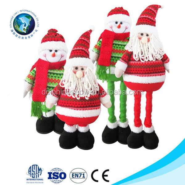 new products 2016 stuffed plush christmas santa claus with flexible leg