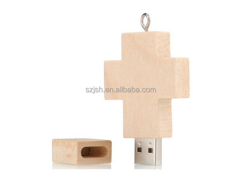 OEM Mini cross shape 2.0 wooden gift usb for cheap bulk gift