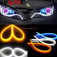 Autoki Soft Flexible Led Strip Tube DRL Lights with White/Amber Dual Color Angel Eye Headlight DRL Strip Daytime Running Light