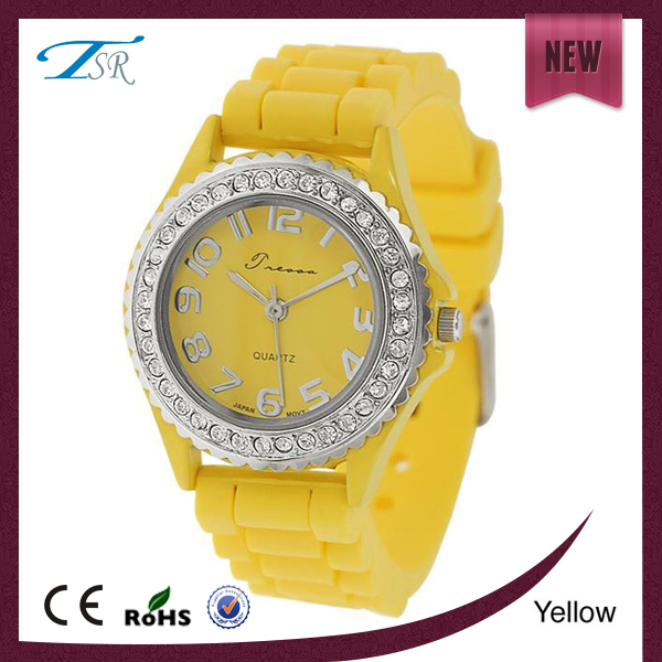 elegant silicone women watch,new popular silicone rubber wristband watch