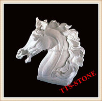 Hand Carved Stone Horse Head Statue