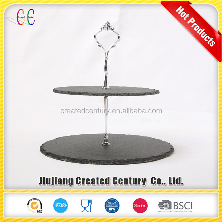 Purchase good quality slate cheese plate stone serving plate 2 tier cake stand