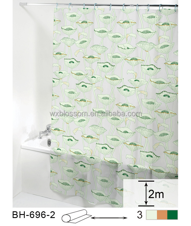 Elegant and hot sale waterproof PEVA bath curtain with printed