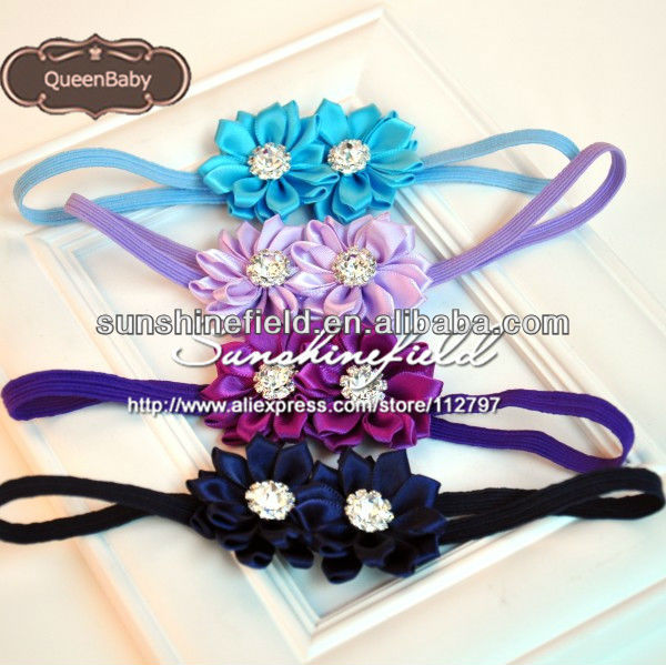 Child's Cute Flower Double Satin Ribbon Flower Headband With Rhinestone on sunshine field