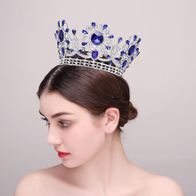 HG611 Large European export baroque luxury blue pageant crown queen full round crown
