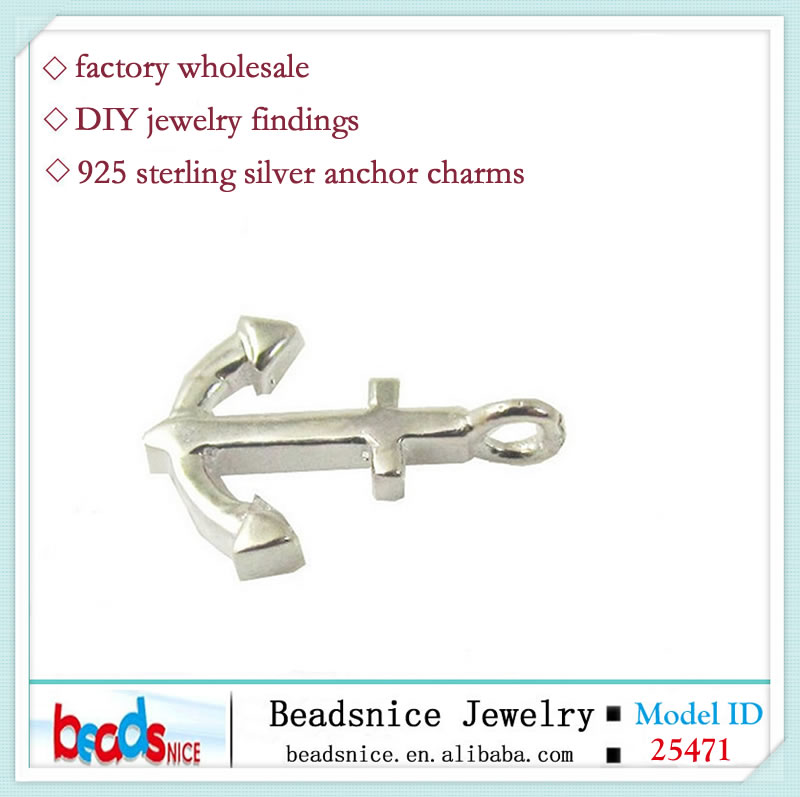 Beadsnice ID 25471 Wholesale jewelry findings 925 sterling silver anchor <strong>charms</strong>