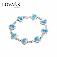 Beautiful Heart Design Bracelet Opal Main Stone Jewellery Bangles For Women