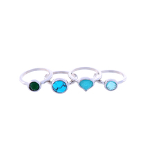 Four 4 Blue Stones Rings Set 2017 New Fashion Rings Bling Silver Plated