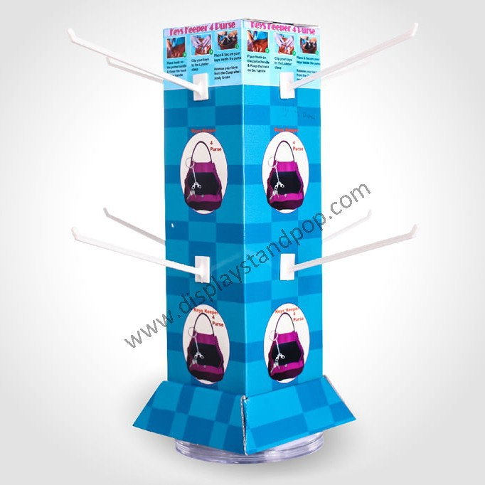 Counter Revolving Hook Display , Cardboard Roating Counter Display with Peg Hooks for Bags