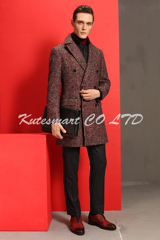 Bespoke wool men overcoat, red plaid fabric for winter