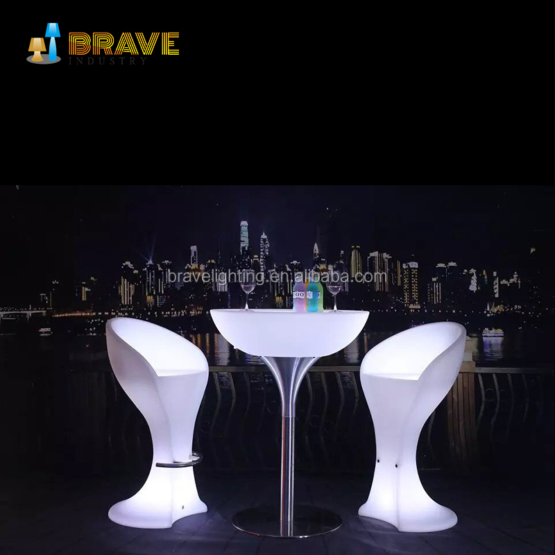 led glass bar table with adjustable height stand up