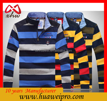 Cheap Wholesale Quality Mercerized cotton polo shirt Design Embroidery Men's Stripes Polo Shirt slim muscle fit