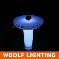 led glowing roller plastic round tables