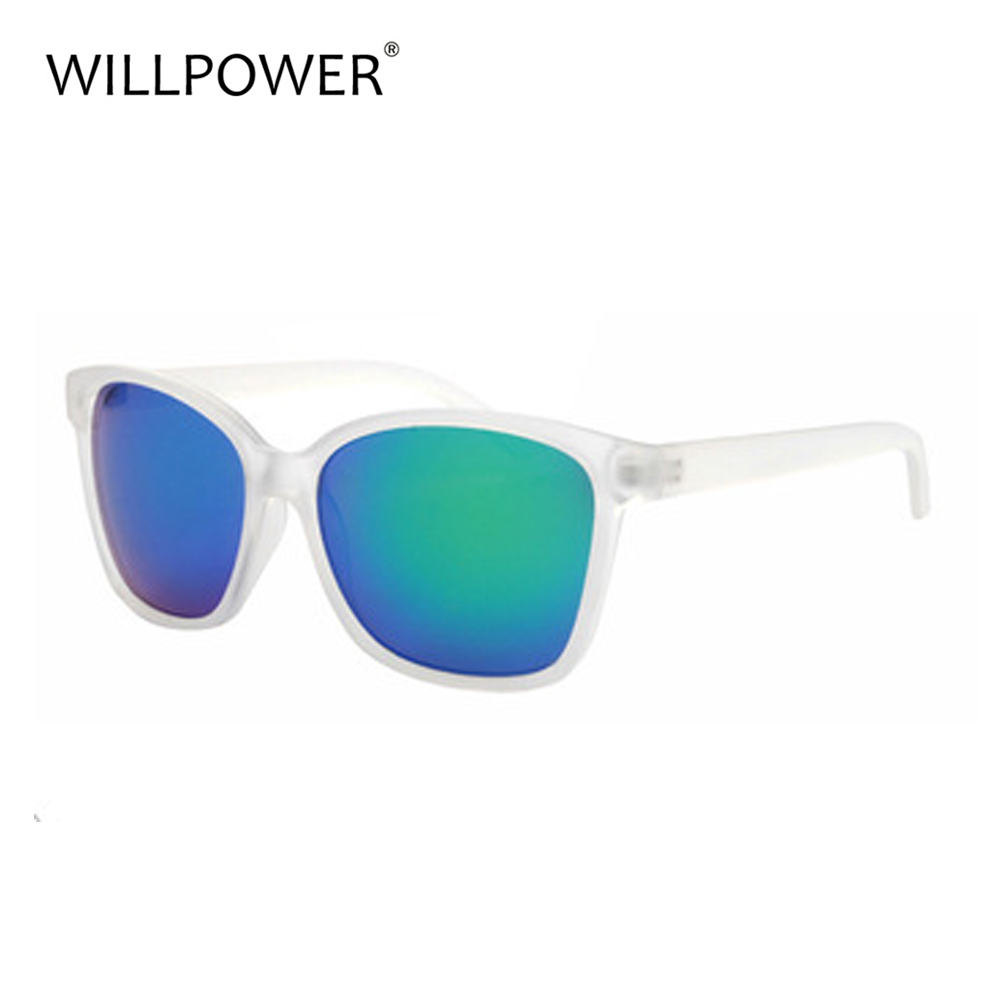 Transparent frames blue mirrored lens floating sun glasses
