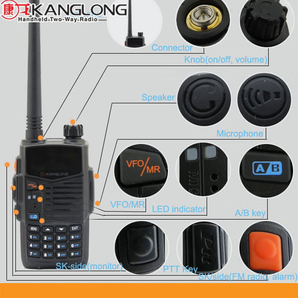 5W ham radio vhf & uhf 128channel dual band radio, CTCSS/DCS 7.2V walkie talkie KL-Q2