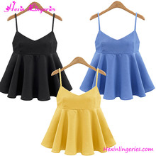Wholesale V Neck Peplum Strap Backless Loose Women Tank Top