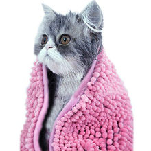 Pink Ultra Absorbent Odor-Free Microfiber Chenille Dog Cat Bath Hair Drying Cloth Towel With Hand Pockets
