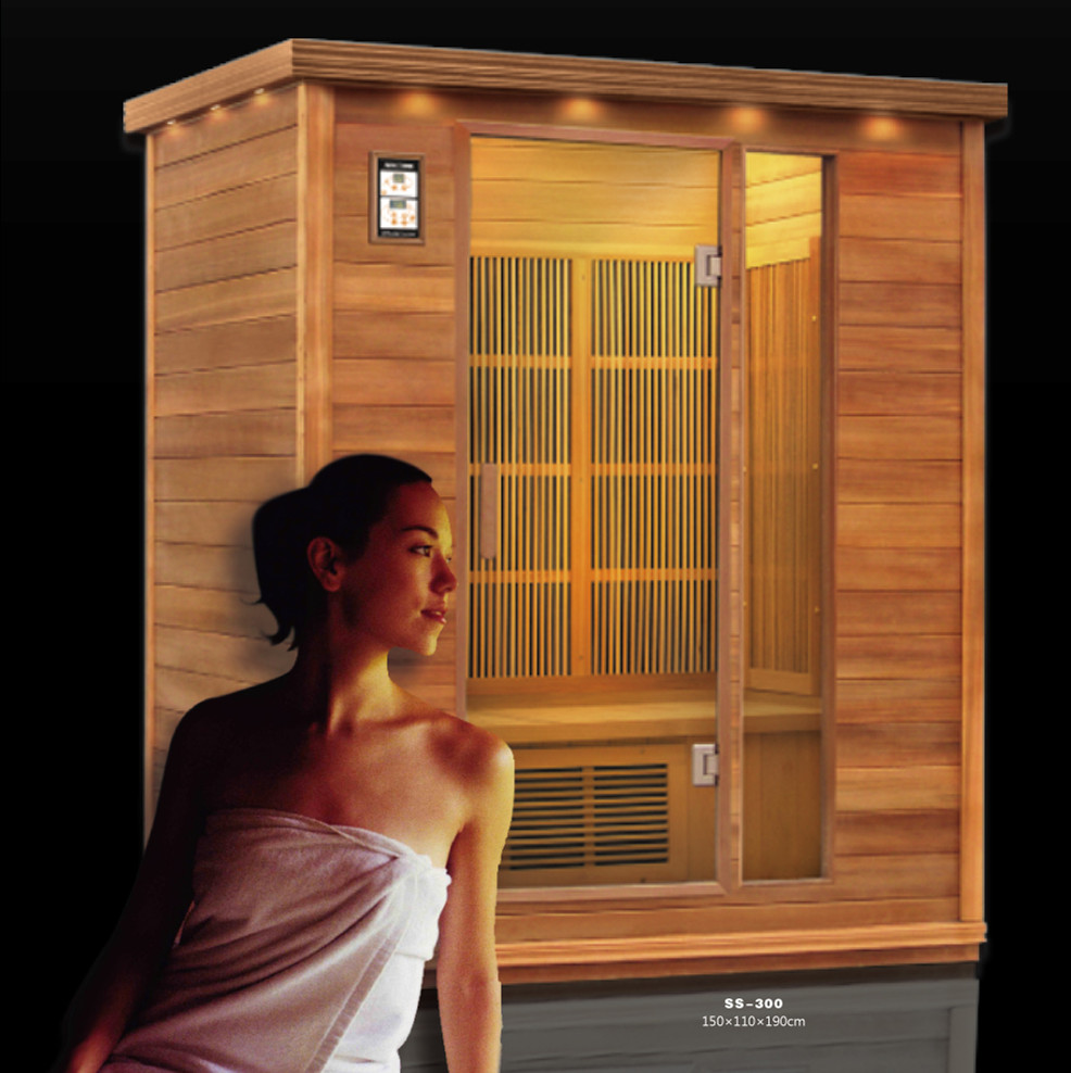 3 person infrared dry sauna with canadian hemlock wood