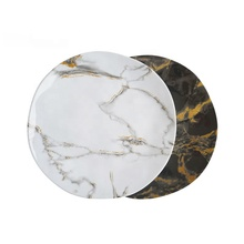 Custom print ecofriendly wholesale dessert <strong>plate</strong> OEM dinner round plastic dishes melamine black marble <strong>plate</strong> for restaurant