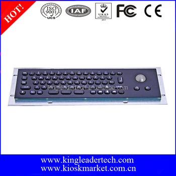 Panel mount customizable mini metal kiosk keyboard with trackball