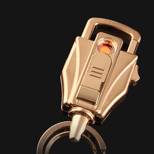 Yan zhen BCK2-687 Creative Metal Transformers Windproof USB Charging Cigarette Lighter with Keychain Lighter